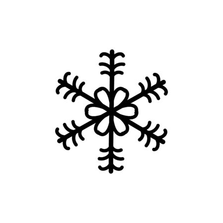 Simple black winter snowlake. Christmas vector icon.