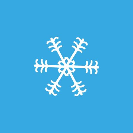 Simple whrite winter snowlake. Christmas vector icon.