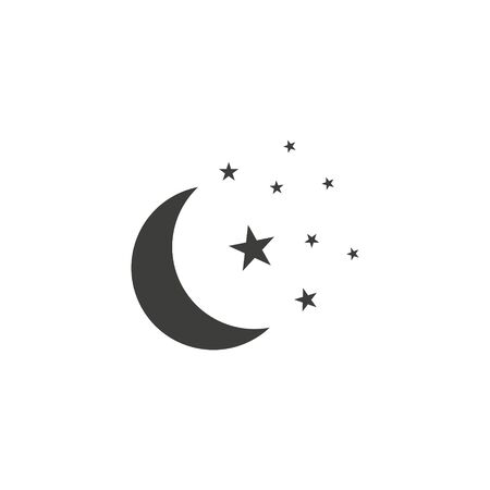 Moon and stars icon. Flat vector illustration in black on white background. EPS 10