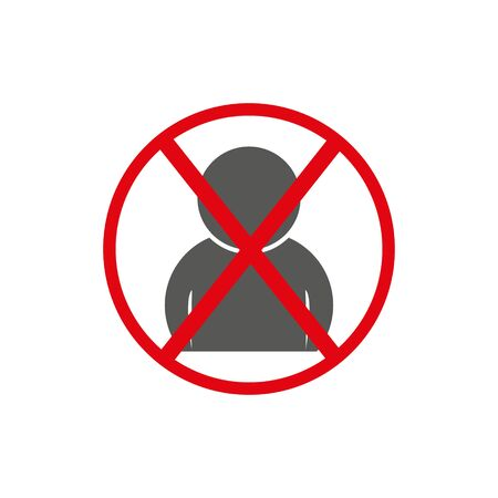 No man sign, vector art image illustration, red circle forbidden concept, solated on white background.eps 10