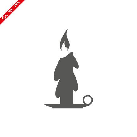 Old fashioned lit candle candlestick on holder flat vector icon for apps and websites Stock Illustratie