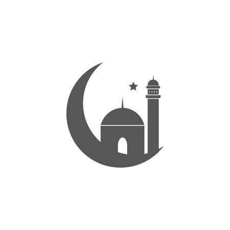 Ramadan greeting card with arabic calligraphy Ramadan Kareem. Islamic background half a month with mosques Ilustração