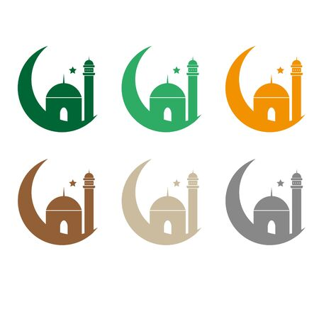 Ramadan greeting card with arabic calligraphy Ramadan Kareem. Islamic background half a month with mosques Stock Illustratie