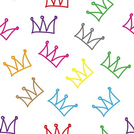 Colorful crown seamless on white background. Princess doodle crown. Seamless hand drawn cartoon illustration.