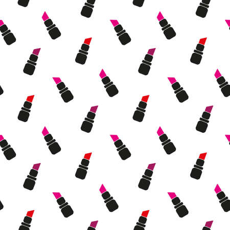 Seamless watercolor pattern with beauty items on the white background, aquarelle lipstick. Vector illustration. Hand-drawn original cosmetics background. Useful for invitations, scrapbooking, design. EPS 10