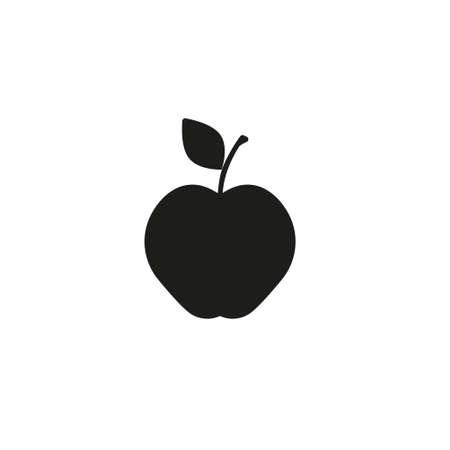 Apple icon.  Black apple on white background Ilustração