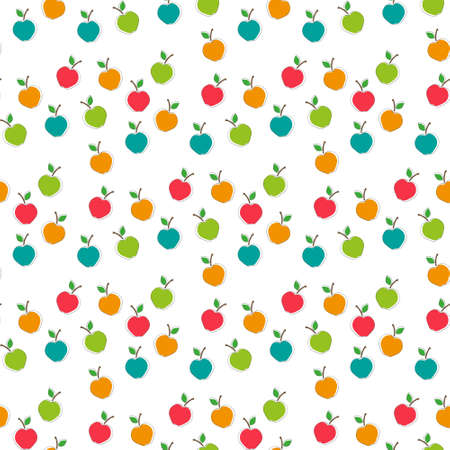 Colorful apples seamless vector pattern background.