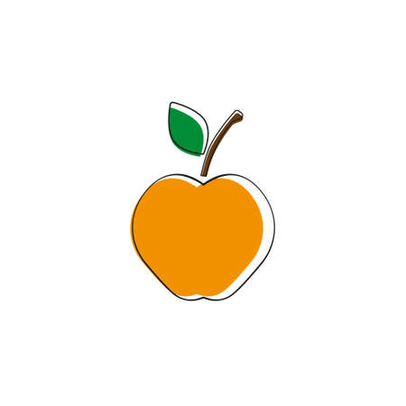 Apple. Vector illustration. Orange apple on white background.