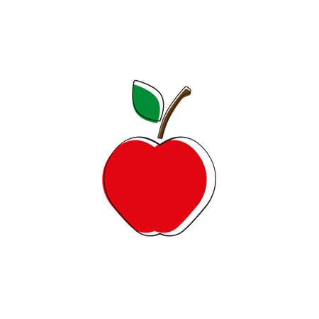 Apple. Vector illustration. Red apple on white background