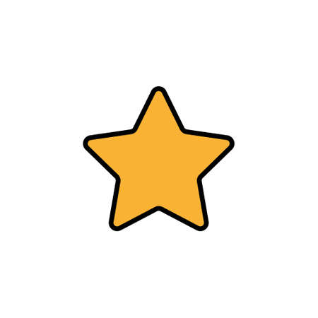 Yellow star icon vector. Classic rank isolated. Trendy flat favorite design. Star web site pictogram, mobile app. 矢量图像