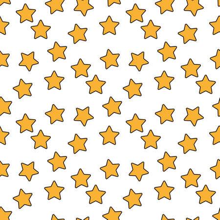 Seamless background of doodle stars. White hand drawn stars on white background. Vector illustration Ilustração
