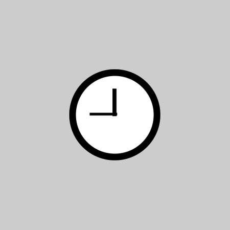 thin line clock icon on white background