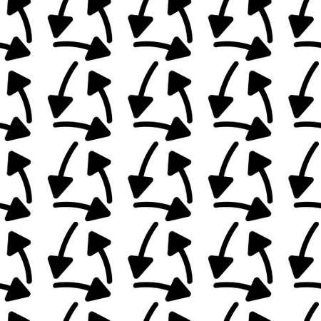 Vector seamless pattern with drawn arrows Ilustração