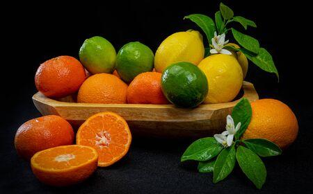 still life of tropical citrus fruits
