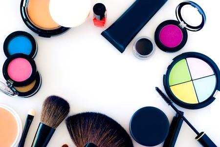 eyemakeup: cosmetics, eye sahdow, blush, brushes and foundation Stock Photo