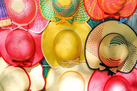 descendants: Colorful Handmade Hats by the yucatan mayans descendants Stock Photo