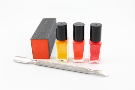Nail polish, buffer and tools for a great manicure photo
