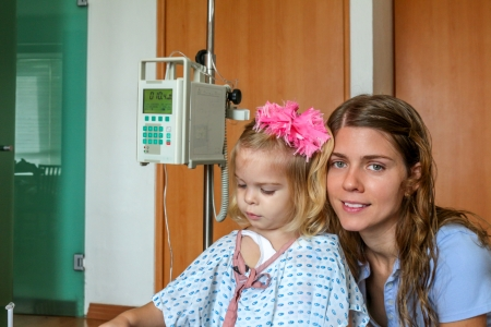 hospitalized: Hospitalized girl with her Mom