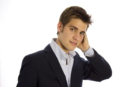 handsome boy: HANDSOME BOY talking on mobile phone Stock Photo