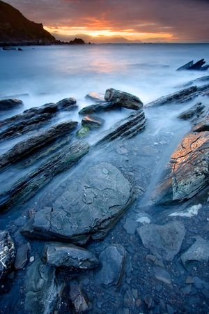 exotically: Rocks on the sea of Barrika, Bizkaia (Spain) Stock Photo