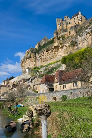 populate: Beynacs castle in the morning in the French dordogna