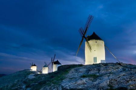 tonight: Windmills of La Mancha tonight, Toledo (Spain) Stock Photo