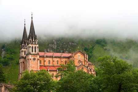 covadonga: Fog at the shrine of Covadonga, Asturias (Spain) Stock Photo