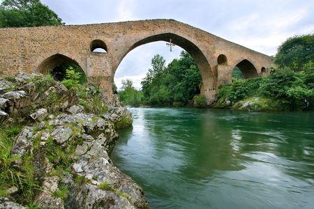 asturias: Roman bridge of Cangas de Onis, Asturias (Spain) Stock Photo