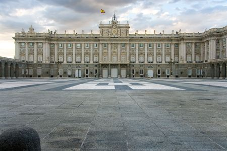 majesty: Square of the armoury Royal palace of Madrid (Spain) Stock Photo
