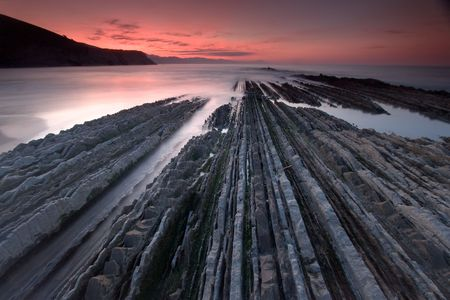 Flysch in Zumaia�s beach, Gipuzkoa (Spain) Stock Photo - 4354277