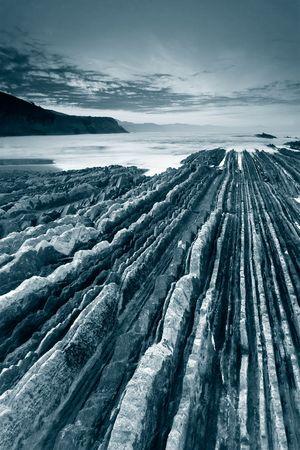 Zumaia�s beach in black and white, Gipuzkoa (Spain) photo