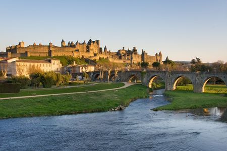 the humanities landscape: View of Carcassonne dark, Languedoc-Rosellon (France) Stock Photo