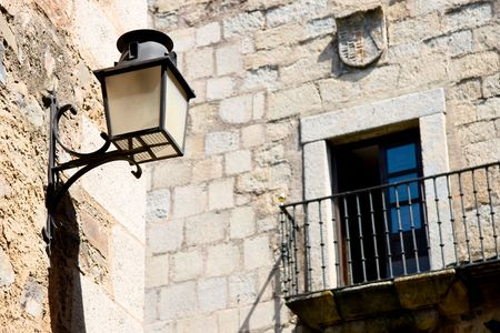 extremadura: Streetlamp in the old quarter of Caceres, Extremadura (Spain) Stock Photo