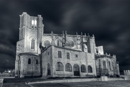 cantabria: Church of Castro Urdiales in black and white, Cantabria (Spain) Stock Photo