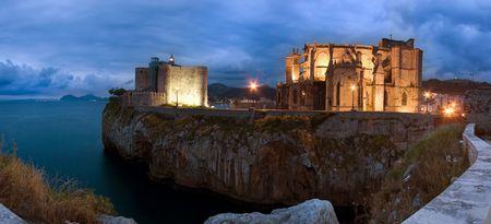 oceana: Panoramic of Castro Urdiales at dusk, Cantabria (Spain)