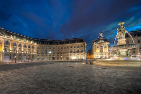 city square: Place of the Bourse at dusk, Bordeaux (France) Stock Photo