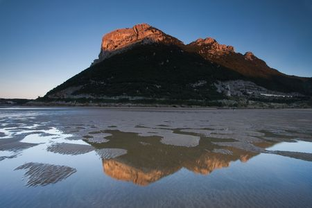 cantabria: Reflect in the beach of Ori�on, Cantabria (Spain) Stock Photo