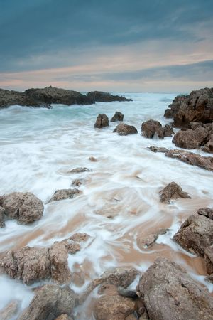 nightfall: Nightfall in Liencres, Cantabria, Spain Stock Photo