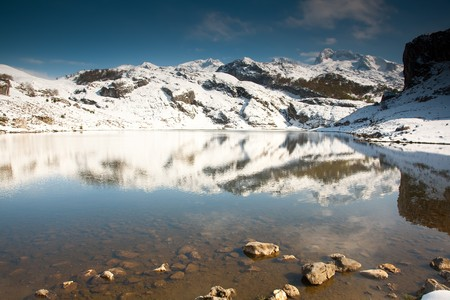 covadonga: Lake of the Ercina, Lagos de Covadonga, Asturias, Spain Stock Photo