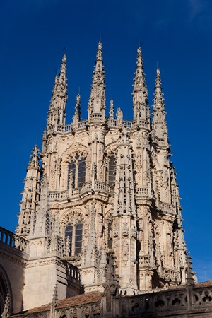 castilla: Tower of the Cathedral of Burgos, Castilla y Leon, Spain Stock Photo