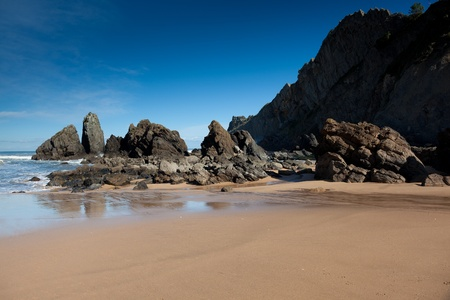 stone of destiny: Beach of Laga, Ibarrangelu, Bizkaia, Spain Stock Photo