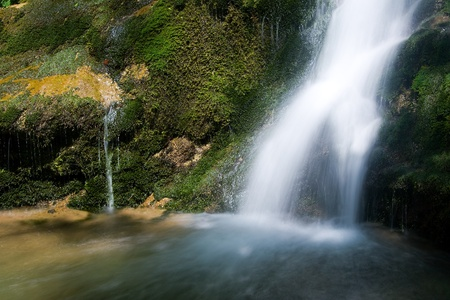 ponton: Waterfall in the Narrow pass of The Beyos, Leon, Spain