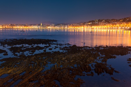 san sebastian: Beach in San Sebastian, Gipuzkoa, Spain Stock Photo