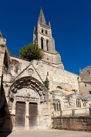 stone of destiny: Church of Saint Emilion, Gironde, Aquitaine, France Stock Photo