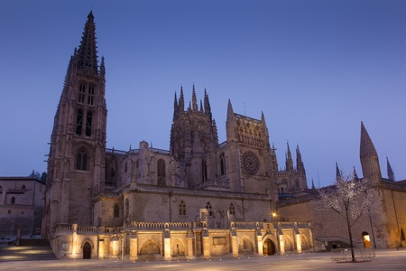 Nightfall in the Cathedral of Burgos, Castilla y Leon, Spain Stock Photo - 11837618