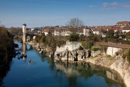 gave: River Gave de Pau, Orthez, Pyrenees Atlantiques, Aquitaine, France