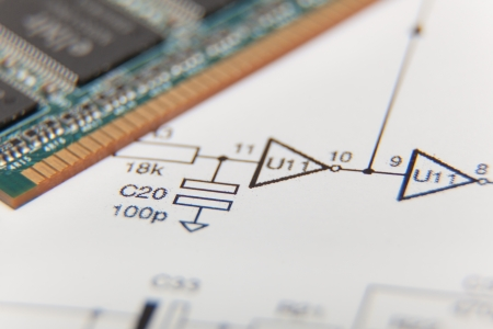 Electronic diagram with computer memory Stock Photo - 15882251
