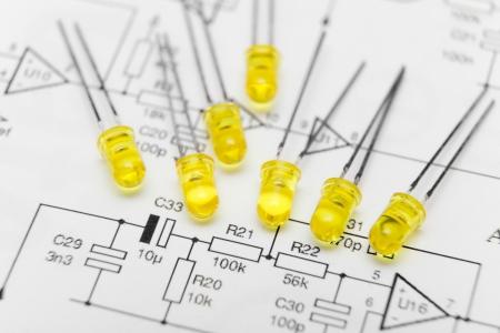 leds: Leds over electronic diagram Stock Photo