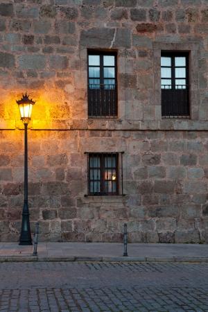 streetlamp: Yuso monastery, San Millan de la Cogolla, La Rioja, Spain Stock Photo