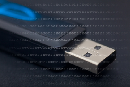pendrive: Detail of pendrive in black background Stock Photo